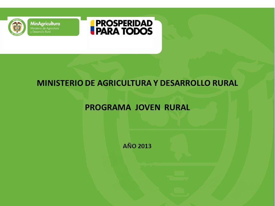 MINISTERIO DE AGRICULTURA Y DESARROLLO RURAL PROGRAMA JOVEN RURAL AÑO 2013