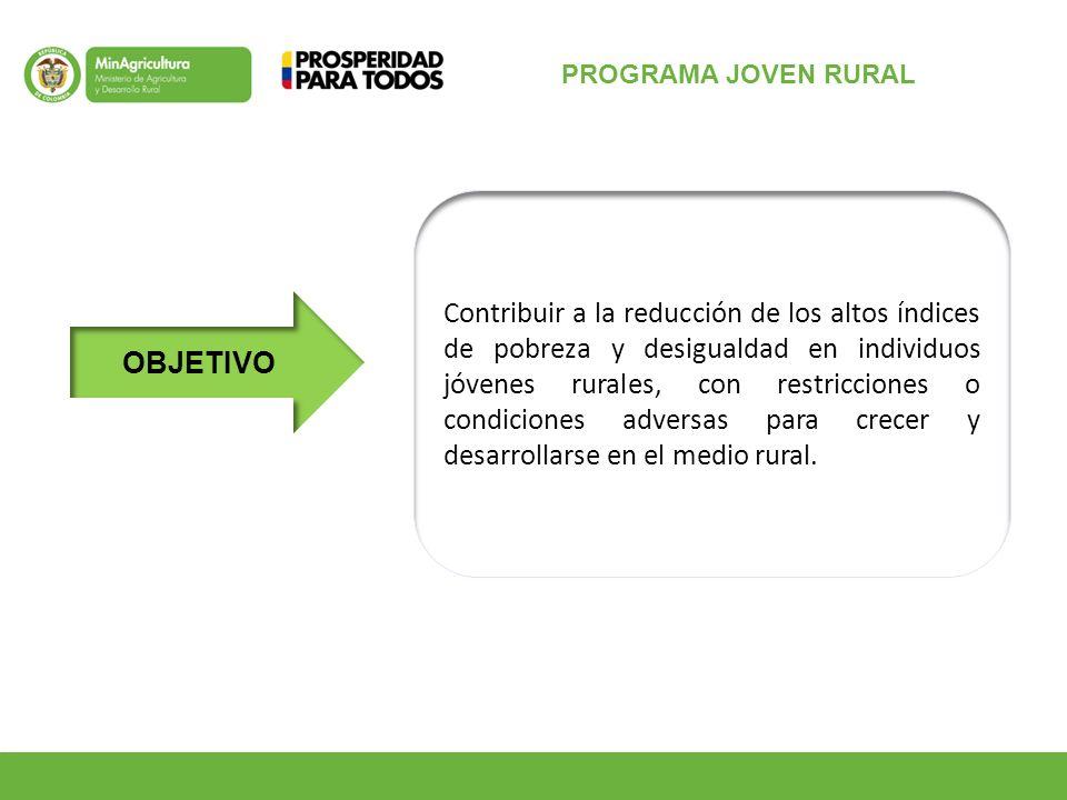 OBJETIVO Contribuir a la reducción de los altos índices de pobreza y desigualdad en individuos jóvenes rurales, con restricciones o condiciones adversas para crecer y desarrollarse en el medio rural.
