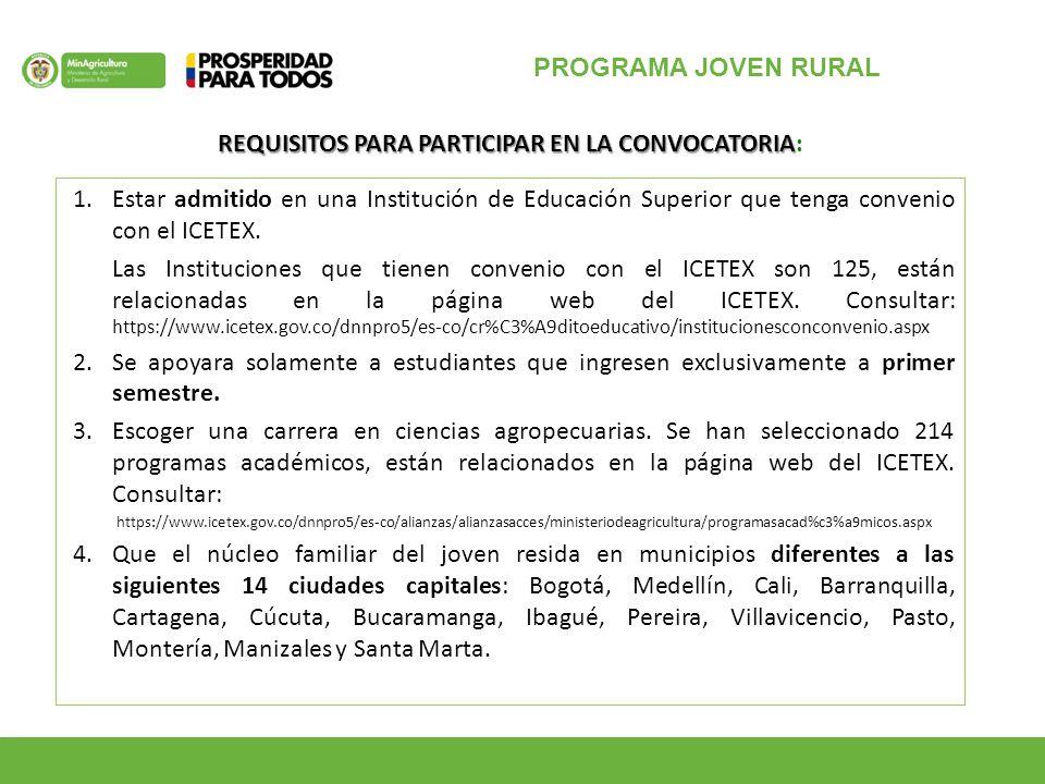PROGRAMA JOVEN RURAL 1.Estar admitido en una Institución de Educación Superior que tenga convenio con el ICETEX.