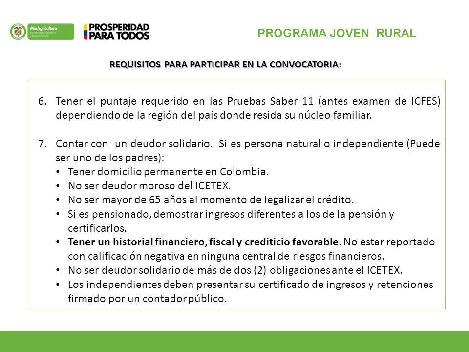 PROGRAMA JOVEN RURAL 6.Tener el puntaje requerido en las Pruebas Saber 11 (antes examen de ICFES) dependiendo de la región del país donde resida su núcleo familiar.