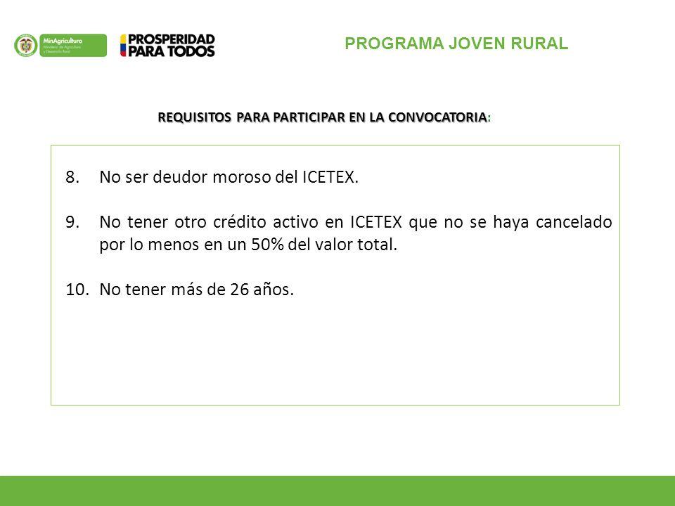PROGRAMA JOVEN RURAL 8.No ser deudor moroso del ICETEX.