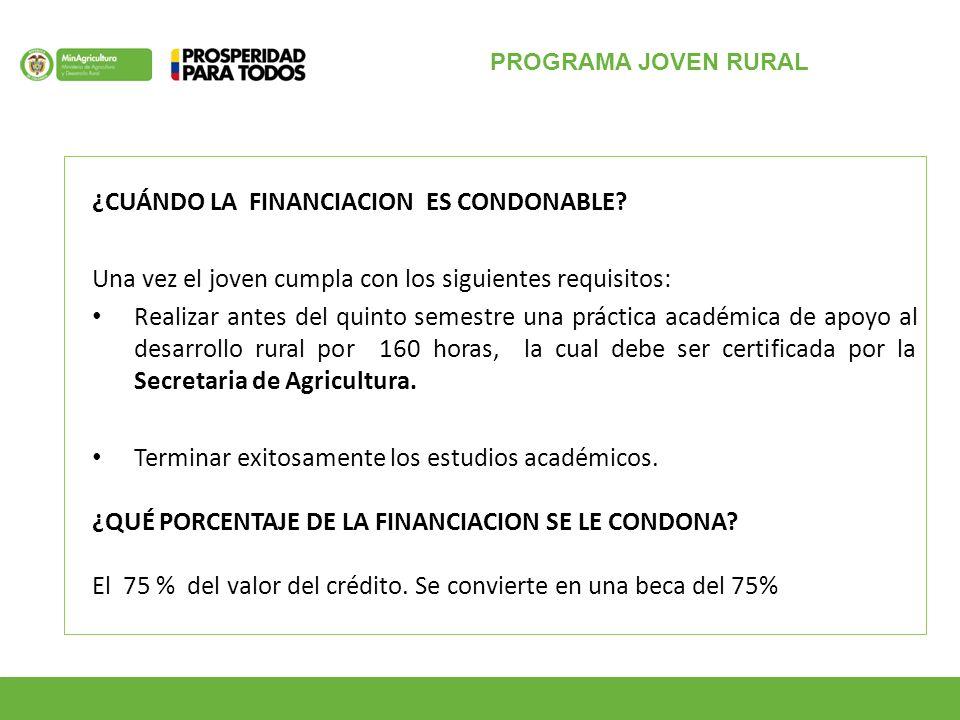 PROGRAMA JOVEN RURAL ¿CUÁNDO LA FINANCIACION ES CONDONABLE.