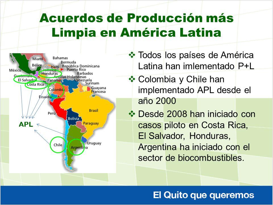 Acuerdos de Producción más Limpia en América Latina Todos los países de América Latina han imlementado P+L Colombia y Chile han implementado APL desde