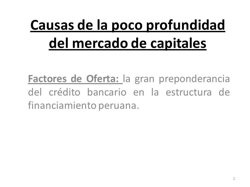 Causas de la poco profundidad del mercado de capitales Factores de Oferta: la gran preponderancia del crédito bancario en la estructura de financiamiento peruana.