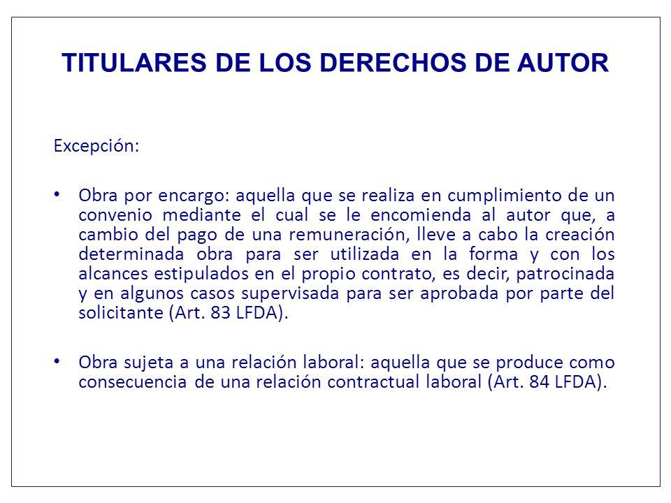 TITULARES DE LOS DERECHOS DE AUTOR Excepción: Obra por encargo: aquella que se realiza en cumplimiento de un convenio mediante el cual se le encomiend