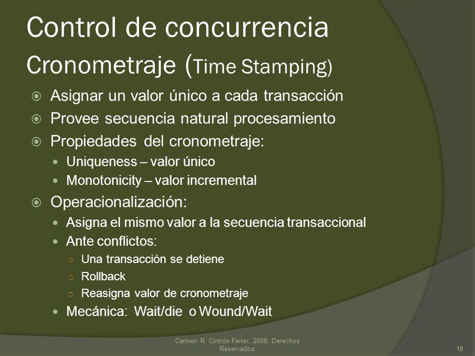 Asignar un valor único a cada transacción Provee secuencia natural procesamiento Propiedades del cronometraje: Uniqueness – valor único Monotonicity –