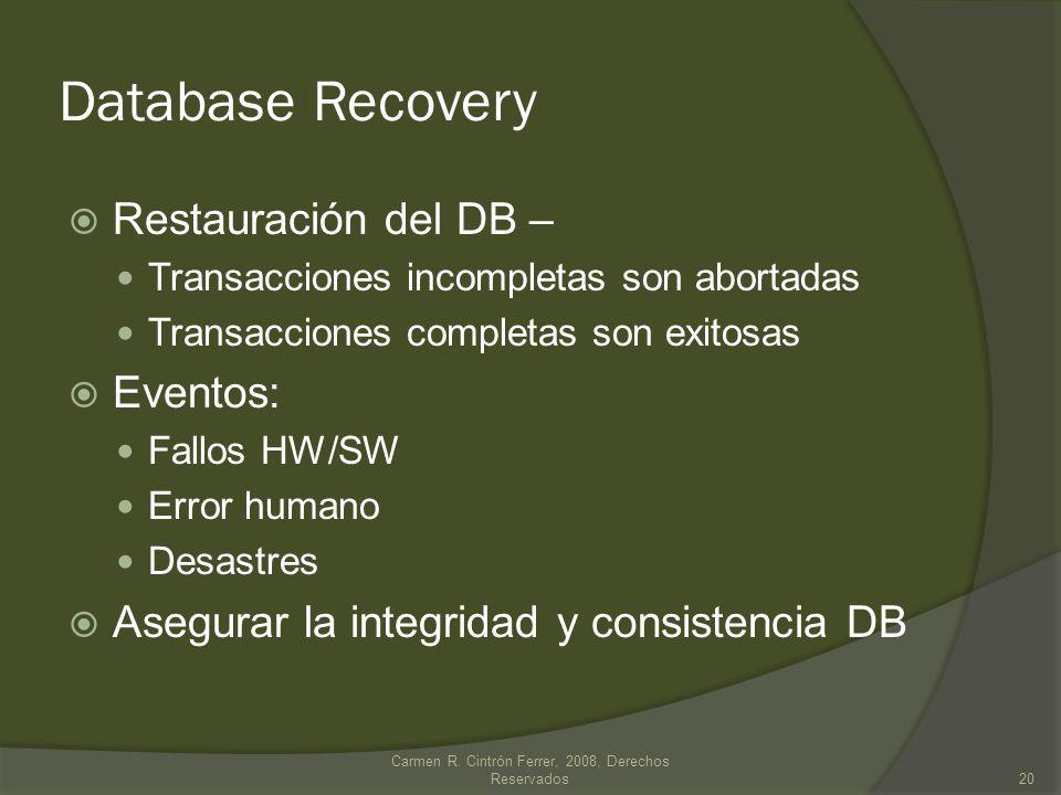 Database Recovery Restauración del DB – Transacciones incompletas son abortadas Transacciones completas son exitosas Eventos: Fallos HW/SW Error human