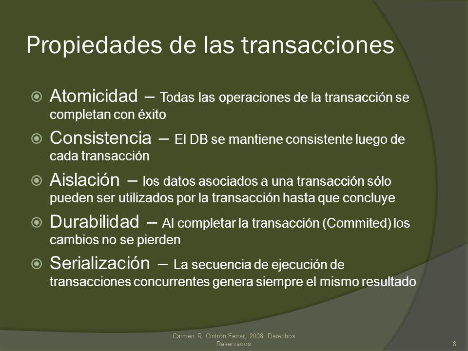 Propiedades de las transacciones Atomicidad – Todas las operaciones de la transacción se completan con éxito Consistencia – El DB se mantiene consiste
