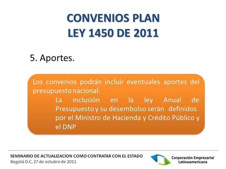CONVENIOS PLAN LEY 1450 DE 2011 5. Aportes. Los convenios podrán incluir eventuales aportes del presupuesto nacional: La inclusión en la ley Anual de