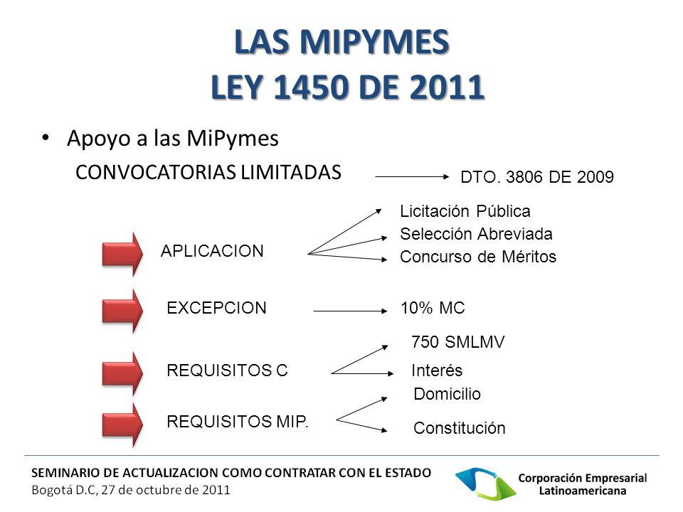 LAS MIPYMES LEY 1450 DE 2011 LAS MIPYMES LEY 1450 DE 2011 Apoyo a las MiPymes CONVOCATORIAS LIMITADAS DTO. 3806 DE 2009 APLICACION EXCEPCION REQUISITO