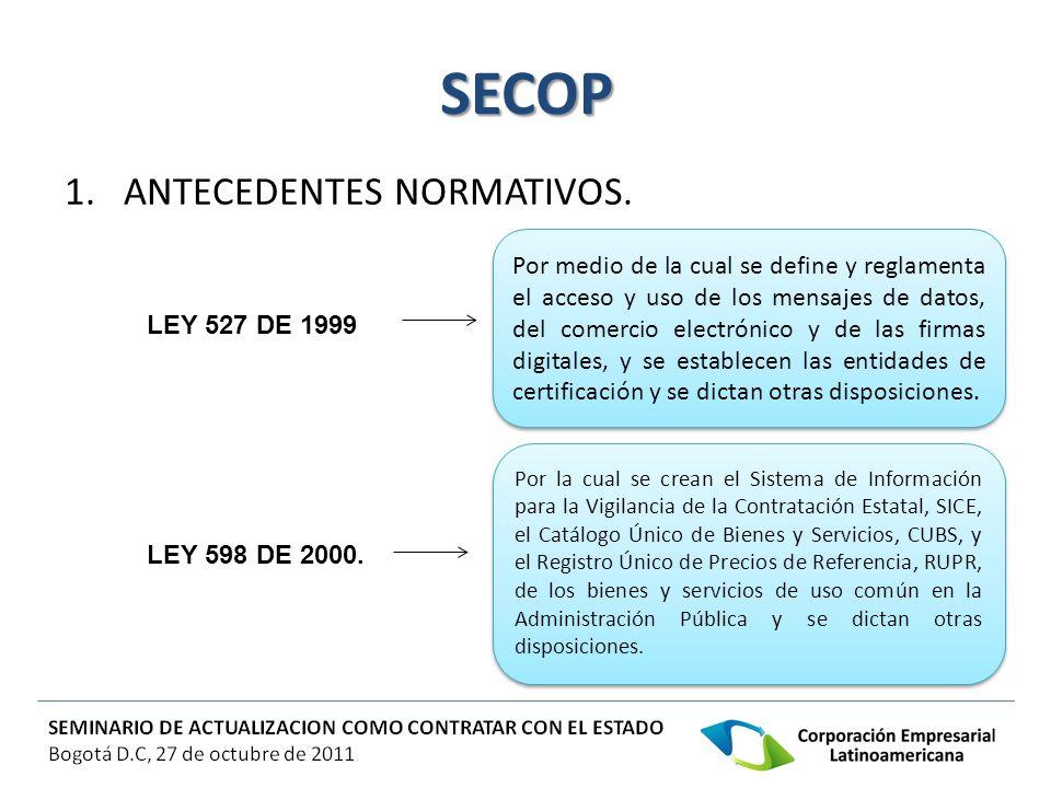 SECOP 1.ANTECEDENTES NORMATIVOS. Por medio de la cual se define y reglamenta el acceso y uso de los mensajes de datos, del comercio electrónico y de l
