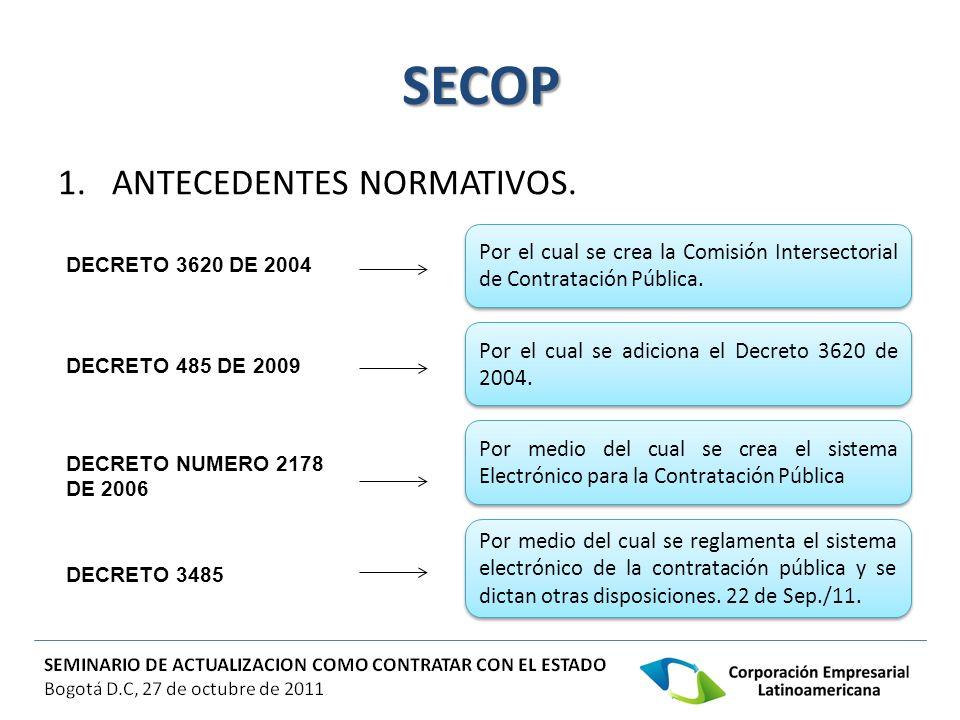 SECOP 1.ANTECEDENTES NORMATIVOS. Por el cual se crea la Comisión Intersectorial de Contratación Pública. Por medio del cual se crea el sistema Electró