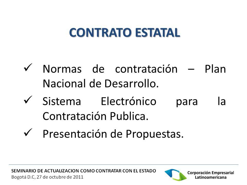 Normas de contratación – Plan Nacional de Desarrollo. Sistema Electrónico para la Contratación Publica. Presentación de Propuestas.