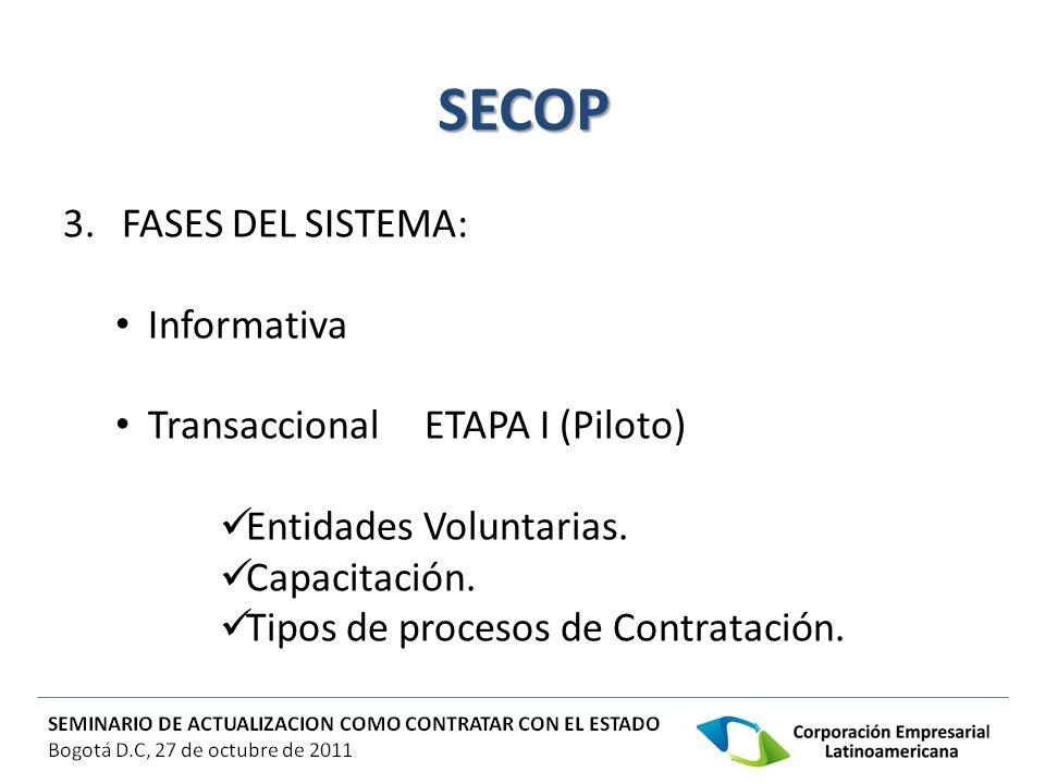 SECOP 3. FASES DEL SISTEMA: Informativa Transaccional ETAPA I (Piloto) Entidades Voluntarias. Capacitación. Tipos de procesos de Contratación.