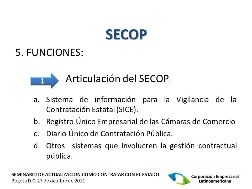 SECOP 5. FUNCIONES: Articulación del SECOP. a.Sistema de información para la Vigilancia de la Contratación Estatal (SICE). b.Registro Único Empresaria