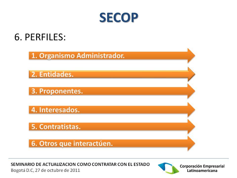 SECOP 6. PERFILES: 1. Organismo Administrador. 2. Entidades. 3. Proponentes. 4. Interesados. 5. Contratistas. 6. Otros que interactúen.