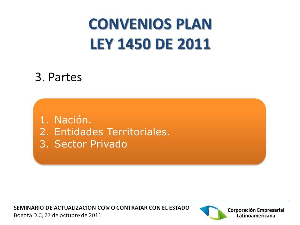 CONVENIOS PLAN LEY 1450 DE 2011 4.Características.