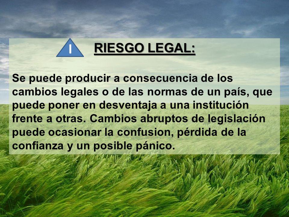 RIESGO LEGAL: Se puede producir a consecuencia de los cambios legales o de las normas de un país, que puede poner en desventaja a una institución frente a otras.