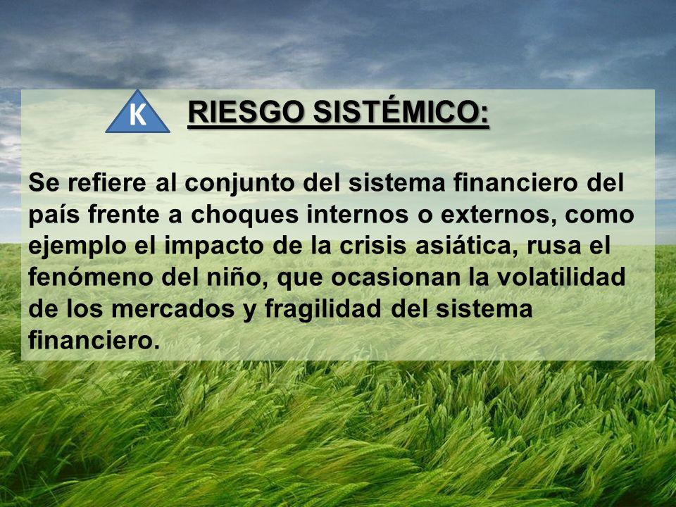 RIESGO SISTÉMICO: Se refiere al conjunto del sistema financiero del país frente a choques internos o externos, como ejemplo el impacto de la crisis as