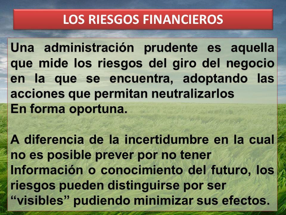 LOS RIESGOS FINANCIEROS Una administración prudente es aquella que mide los riesgos del giro del negocio en la que se encuentra, adoptando las acciones que permitan neutralizarlos En forma oportuna.