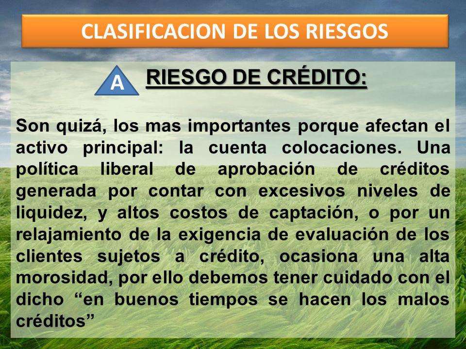 CLASIFICACION DE LOS RIESGOS RIESGO DE CRÉDITO: Son quizá, los mas importantes porque afectan el activo principal: la cuenta colocaciones. Una polític