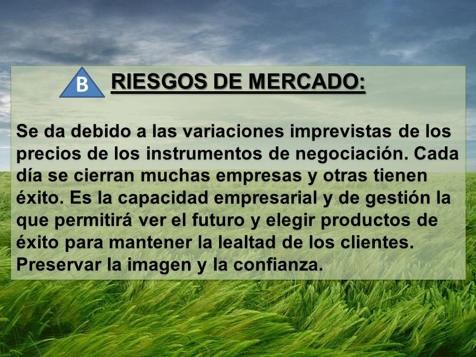 RIESGOS DE MERCADO: Se da debido a las variaciones imprevistas de los precios de los instrumentos de negociación.