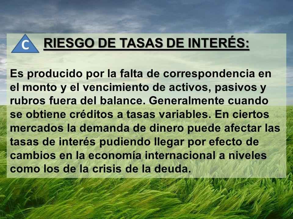 RIESGO DE TASAS DE INTERÉS: Es producido por la falta de correspondencia en el monto y el vencimiento de activos, pasivos y rubros fuera del balance.