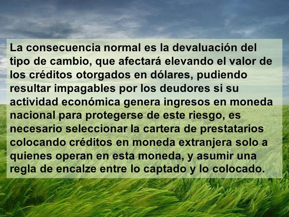 La consecuencia normal es la devaluación del tipo de cambio, que afectará elevando el valor de los créditos otorgados en dólares, pudiendo resultar im