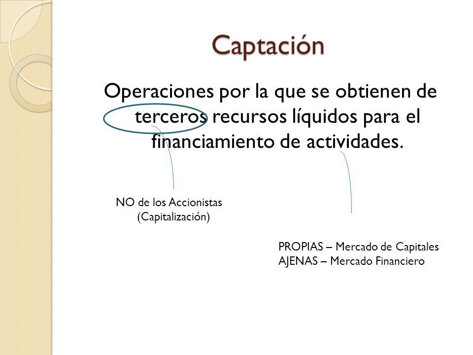 Captación Operaciones por la que se obtienen de terceros recursos líquidos para el financiamiento de actividades. NO de los Accionistas (Capitalizació