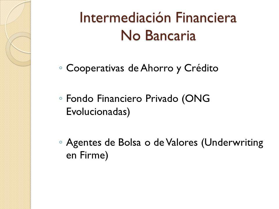 Intermediación Financiera No Bancaria Cooperativas de Ahorro y Crédito Fondo Financiero Privado (ONG Evolucionadas) Agentes de Bolsa o de Valores (Und