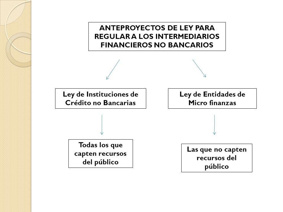 ANTEPROYECTOS DE LEY PARA REGULAR A LOS INTERMEDIARIOS FINANCIEROS NO BANCARIOS Ley de Instituciones de Crédito no Bancarias Ley de Entidades de Micro