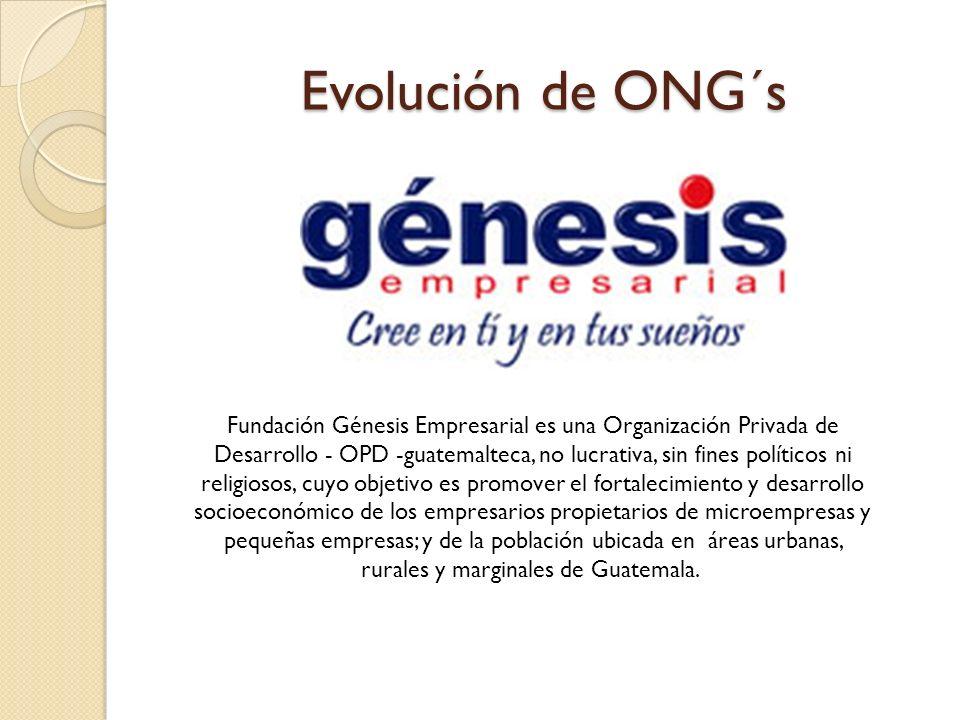 Evolución de ONG´s Fundación Génesis Empresarial es una Organización Privada de Desarrollo - OPD -guatemalteca, no lucrativa, sin fines políticos ni r