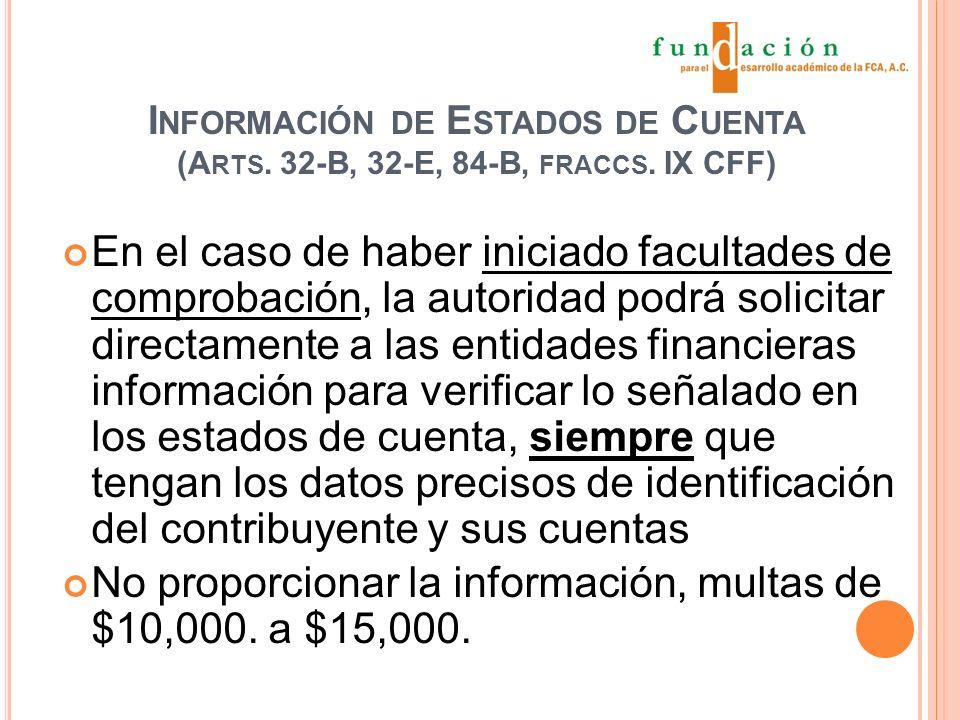 I NFORMACIÓN DE E STADOS DE C UENTA (A RTS. 32-B, 32-E, 84-B, FRACCS.