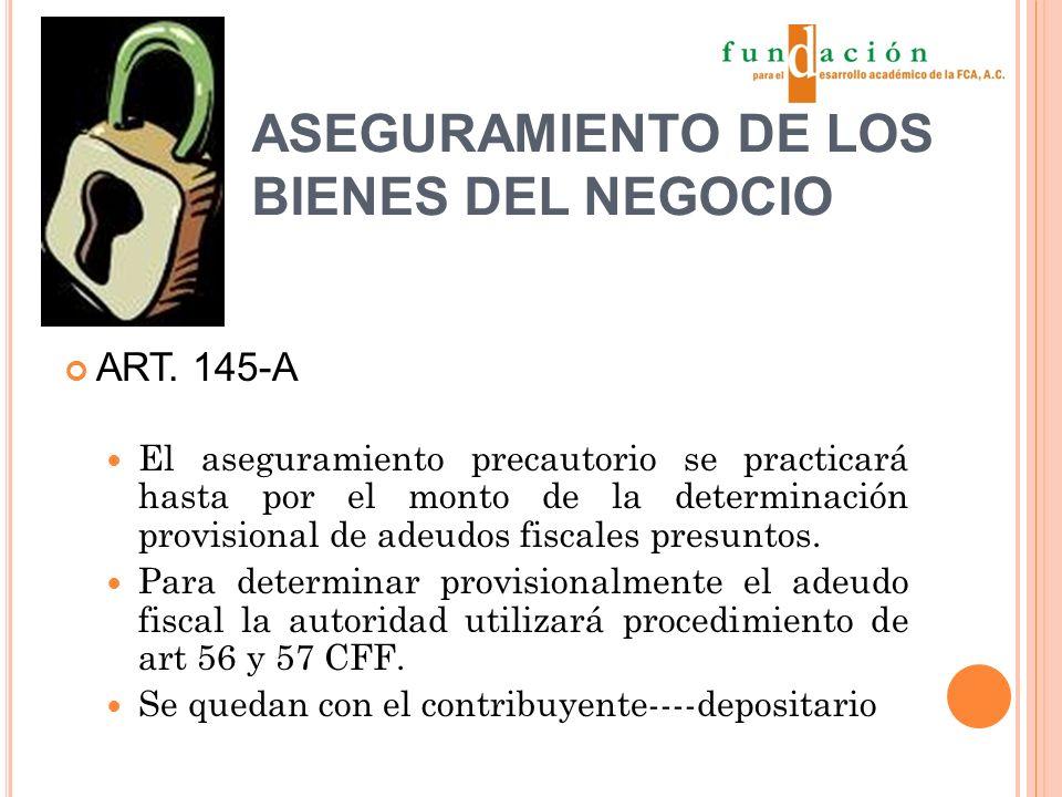 ASEGURAMIENTO DE LOS BIENES DEL NEGOCIO ART.