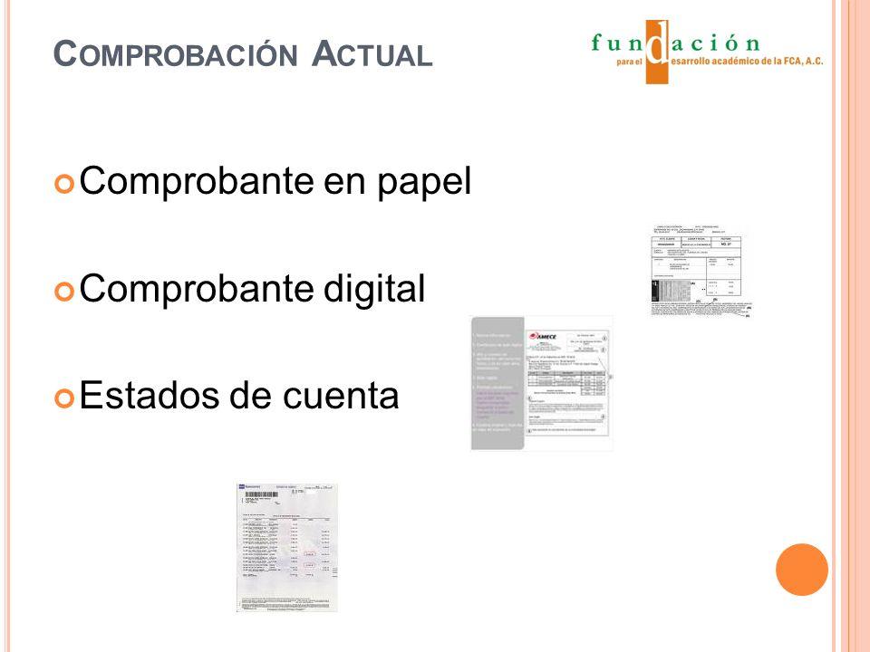 C OMPROBACIÓN A CTUAL Comprobante en papel Comprobante digital Estados de cuenta