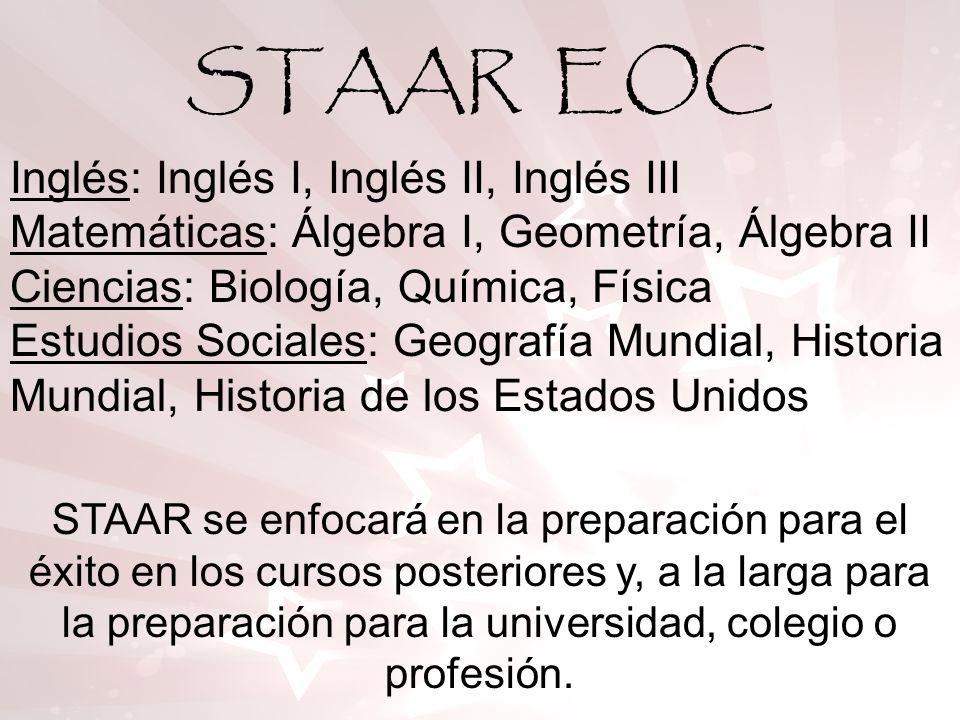 TAKS vs STAAR 4 Exámenes de egreso – Artes del Lenguaje Inglés (ELA, por sus siglas en inglés), Matemáticas, Ciencias, Estudios Sociales tomados en el 11º grado 12 Exámenes de Fin de Curso (EOC, por sus siglas en inglés).