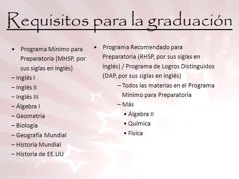 Requisitos para la graduación Programa Mínimo para Preparatoria (MHSP, por sus siglas en inglés) – Inglés I – Inglés II – Inglés III – Álgebra I – Geo