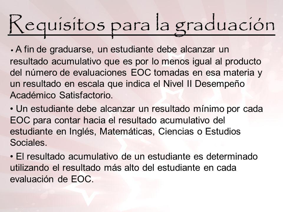 Requisitos para la graduación Si un estudiante no alcanza el resultado mínimo en una evaluación de EOC, el estudiante podrá volver a tomar la evaluación de EOC.