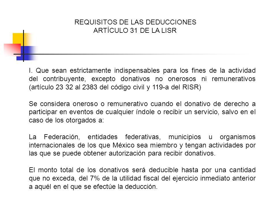 REQUISITOS DE LAS DEDUCCIONES ARTÍCULO 31 DE LA LISR I. Que sean estrictamente indispensables para los fines de la actividad del contribuyente, except