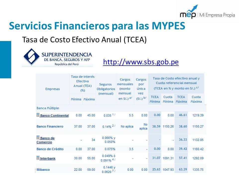Servicios Financieros para las MYPES Tasa de Costo Efectivo Anual (TCEA) http://www.sbs.gob.pe