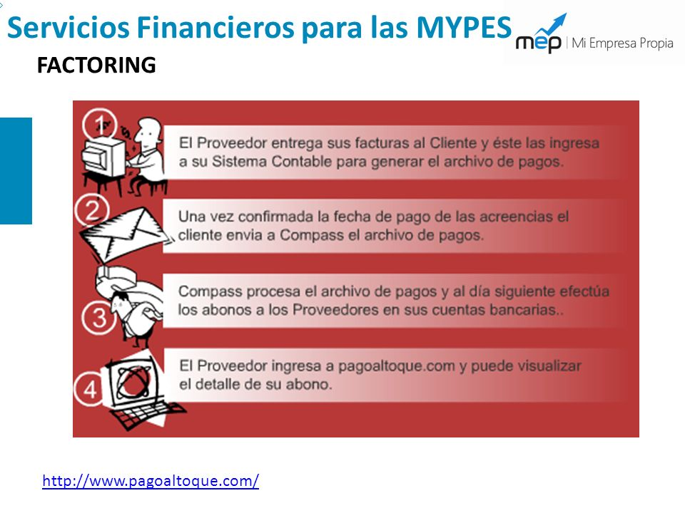 Servicios Financieros para las MYPES FACTORING http://www.pagoaltoque.com/