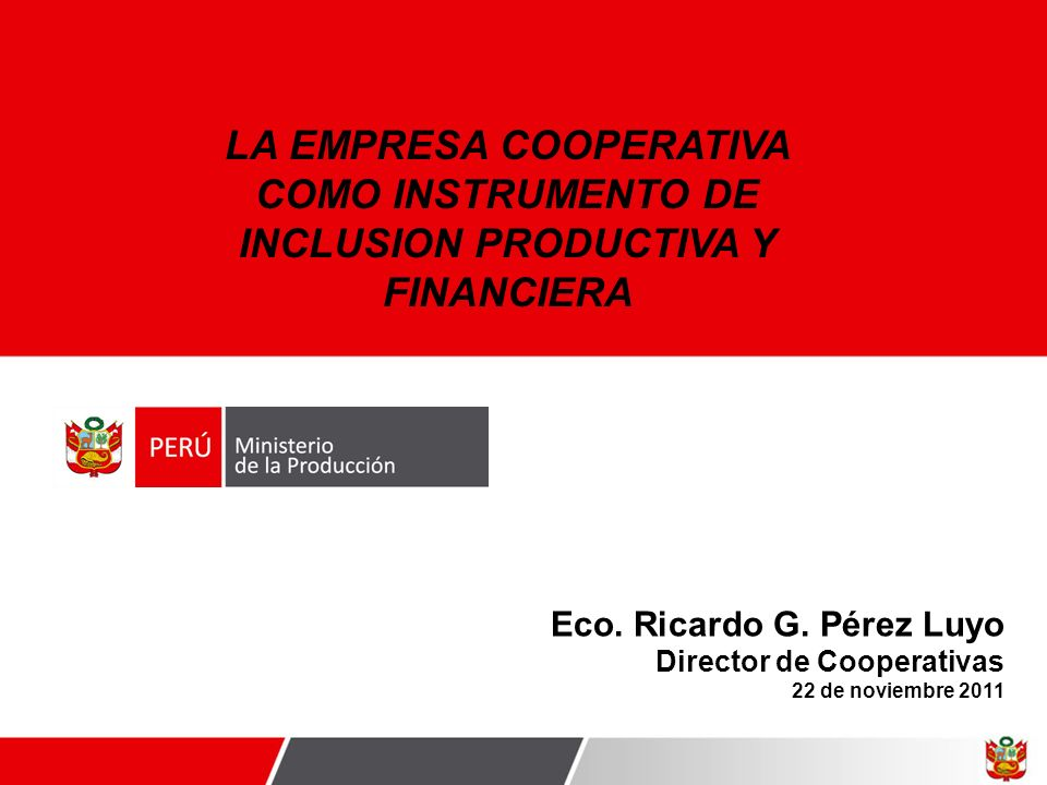 Eco. Ricardo G. Pérez Luyo Director de Cooperativas 22 de noviembre 2011 LA EMPRESA COOPERATIVA COMO INSTRUMENTO DE INCLUSION PRODUCTIVA Y FINANCIERA
