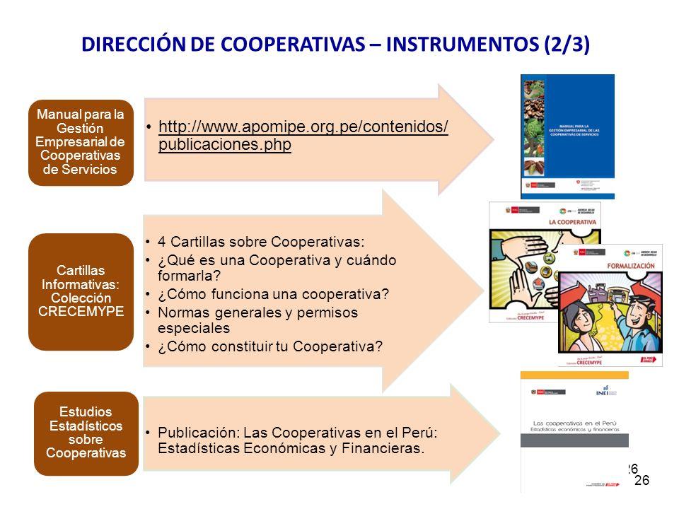 26 http://www.apomipe.org.pe/contenidos/ publicaciones.php Manual para la Gestión Empresarial de Cooperativas de Servicios 4 Cartillas sobre Cooperati