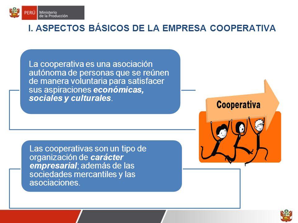 I. ASPECTOS BÁSICOS DE LA EMPRESA COOPERATIVA La cooperativa es una asociación autónoma de personas que se reúnen de manera voluntaria para satisfacer