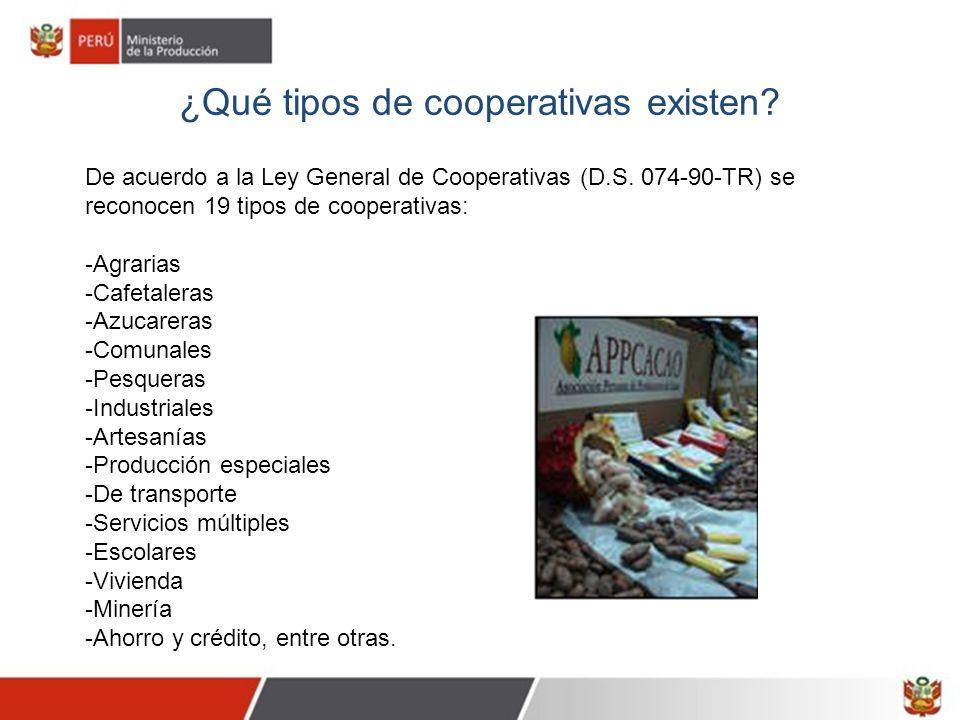 ¿Qué tipos de cooperativas existen? De acuerdo a la Ley General de Cooperativas (D.S. 074-90-TR) se reconocen 19 tipos de cooperativas: -Agrarias -Caf