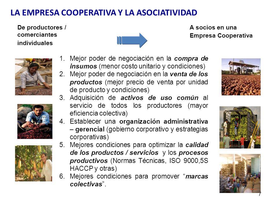 7 De productores / comerciantes individuales A socios en una Empresa Cooperativa 1.Mejor poder de negociación en la compra de insumos (menor costo uni
