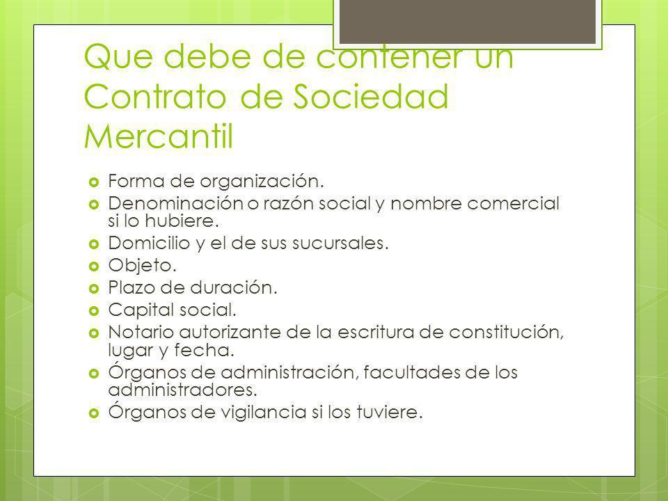Que debe de contener un Contrato de Sociedad Mercantil Forma de organización. Denominación o razón social y nombre comercial si lo hubiere. Domicilio
