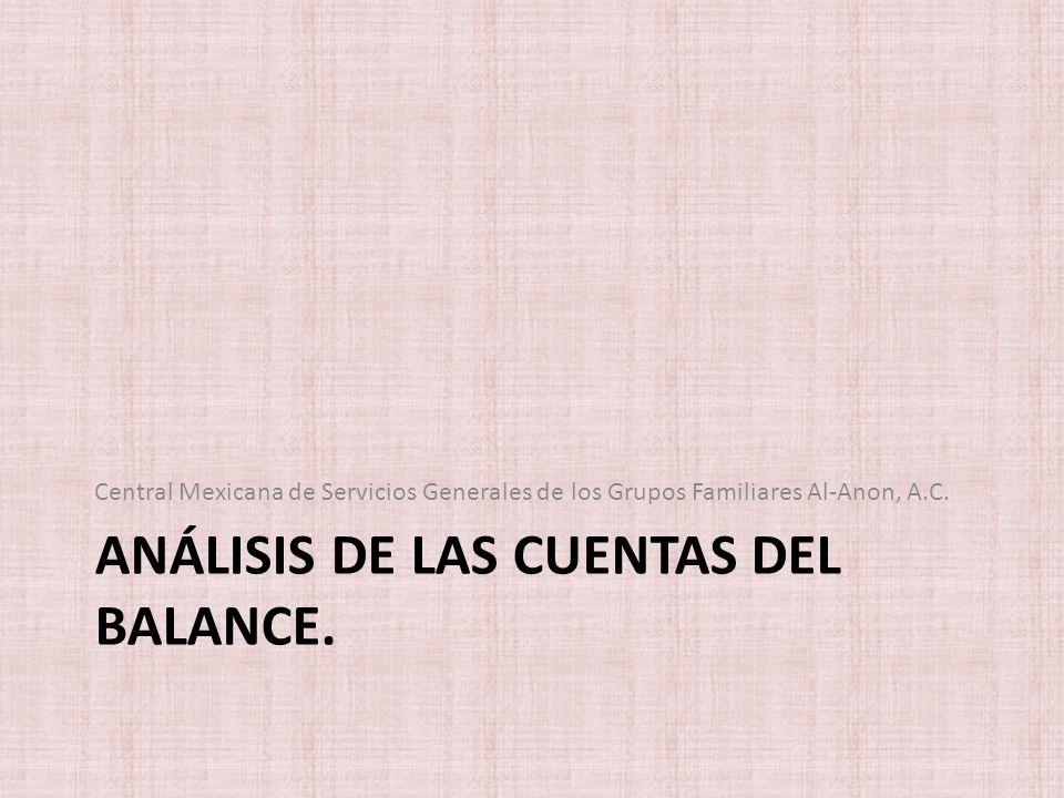 ANÁLISIS DE LAS CUENTAS DEL BALANCE. Central Mexicana de Servicios Generales de los Grupos Familiares Al-Anon, A.C.