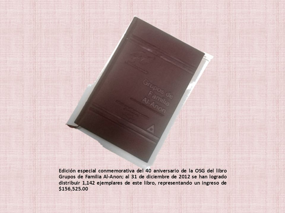 Edición especial conmemorativa del 40 aniversario de la OSG del libro Grupos de Familia Al-Anon; al 31 de diciembre de 2012 se han logrado distribuir
