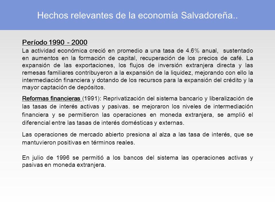 Período 1990 - 2000 La actividad económica creció en promedio a una tasa de 4.6% anual, sustentado en aumentos en la formación de capital, recuperación de los precios de café.